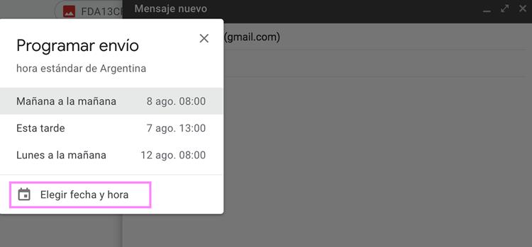 Opciones para programar el envío del email
