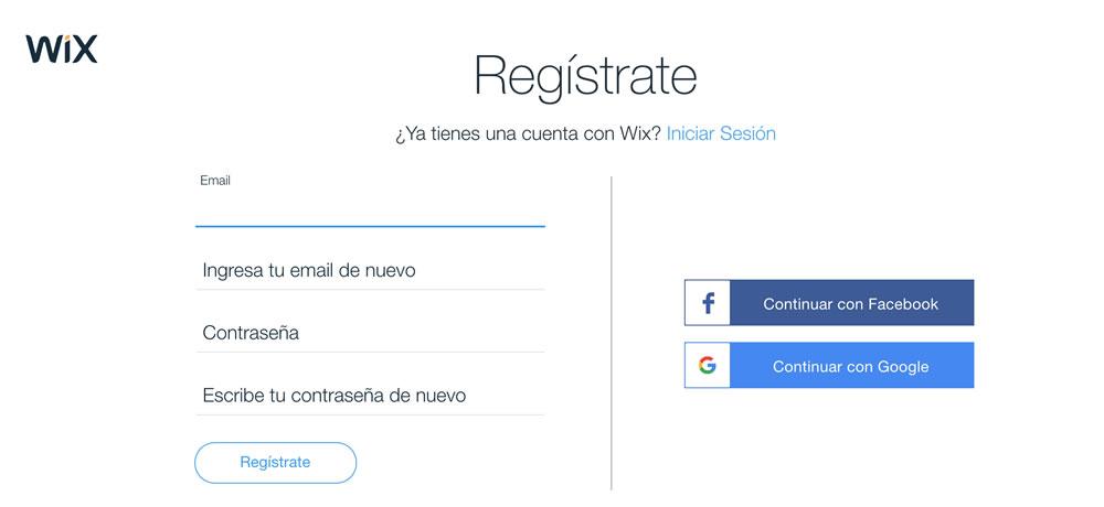 Registro en Wix