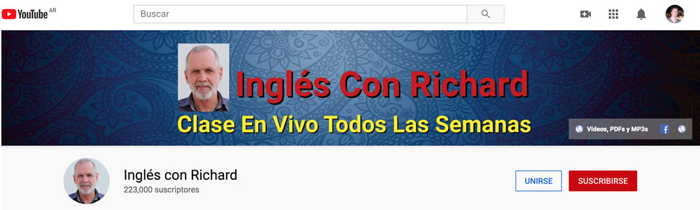 "Curso en youtube ""Inglés con Richard"""