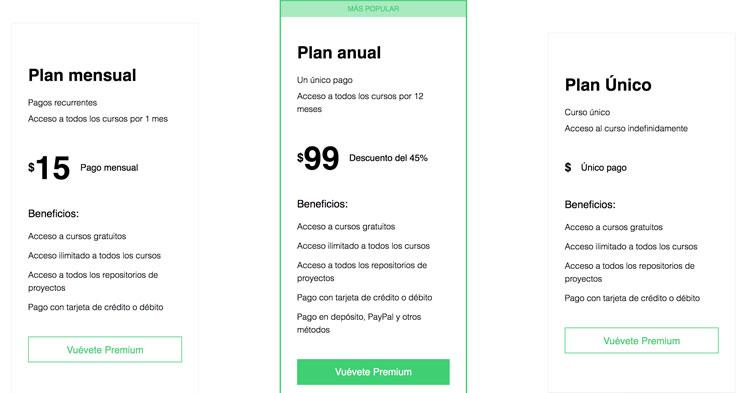 Planes y precios de curso HTML5