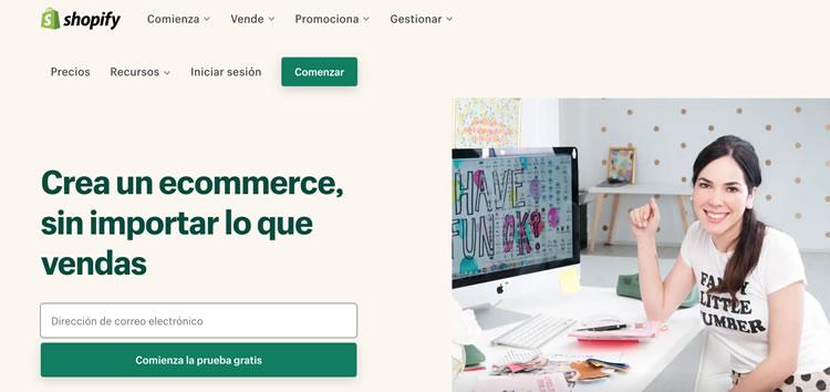 Sitio de la plataforma Shopify