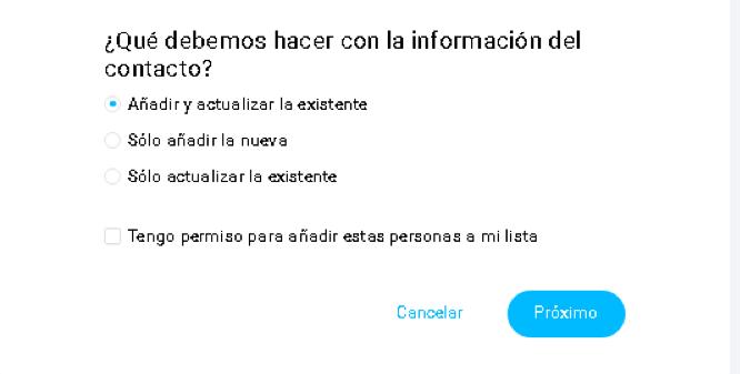 Actualizando la información de los contactos