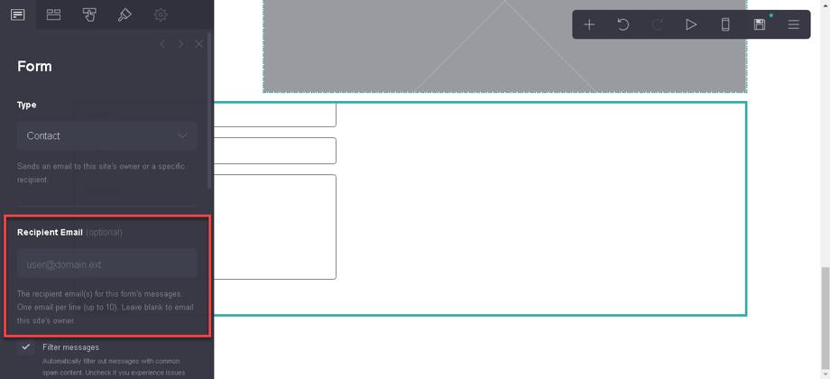Configurando la casilla de email del formulario